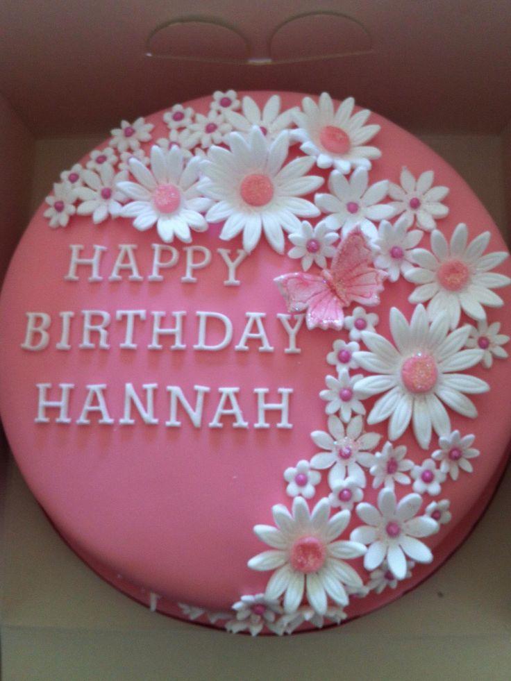 Pretty pink flower birthday cake