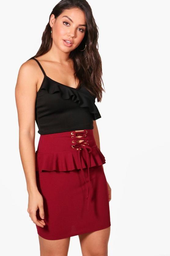Ella Corset Waist Ruffle Detail Crepe Mini Skirt