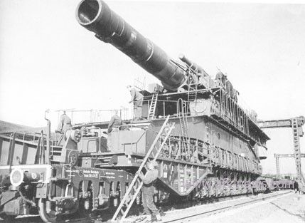 Schwerer Gustav (English: Heavy Gustaf, or Great Gustaf) and Dora were the names of two massive World War 2 German 80 cm K (E) railway siege guns.