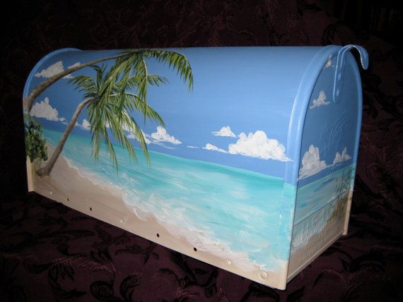 TROPICAL BEACH Hand Painted Mailbox   JUMBO Size by DancingBrushes, $149.00