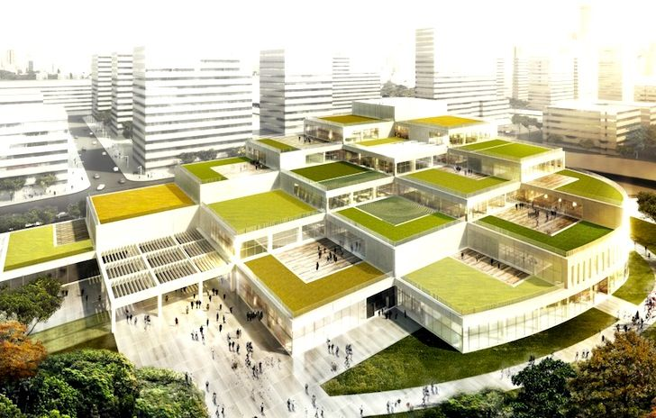 Schmidt Hammer Lassen Designs Green Roofed Cultural Hub for Ningbo's Labor Union | Inhabitat - Sustainable Design Innovation, Eco Architecture, Green Building