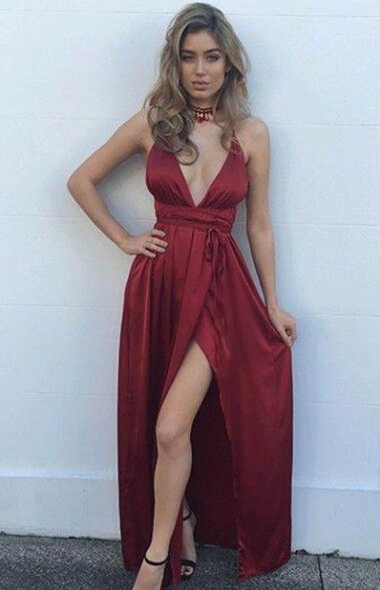 Sexy Burgundy Maxi Dress, Charming V neck Evening