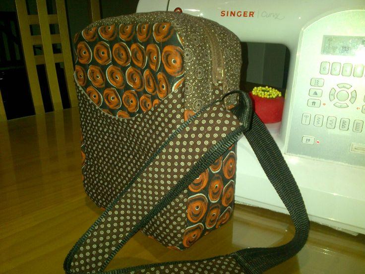 Handmade bag brown and orange shweshwe