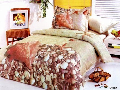 Le Vele Deniz - Duvet Cover Bed in Bag - Full / Queen Bedding Gift Set - LE69Q by Le Vele. $133.99. - 1 Duvet Cover 80 x 87. - 2 Pillow Shams 20 x 30 + 2 inch flange. Sea shells and starfish is printer on a sand filled background to create a summery sensation of lazing on a tropical beach.. - 2 Pillow Cases 20 x 30. 1 Flat Bed Sheet 87 x 99. 6 Pieces Luxury Duvet Cover Set with Reversible Design.  Fits Full or Queen Size mattress. Made of 100% Soft Turkish Cotton at 305 Thread...