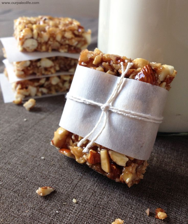 Paleo Honey Nut Bars | Our Paleo Life  Can't wait to try a dark chocolate and ginger/crystallised ginger version of these!