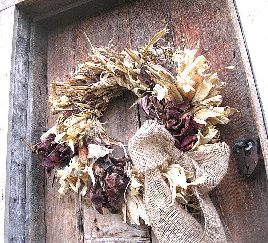 Indian Corn Cob Wreath Large Size For Autumn Wall Or Door Decoration