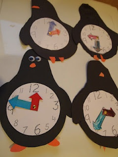 Penguin clocks-cute. I think I may use the clock template and make flower clocks for spring.