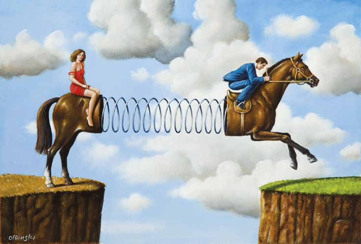 """The grass is greener"" author: Rafał Olbiński Oil on canvas, size: 29 cm x 43 cm, 2017 Personalart Gallery: www.personalart.pl"