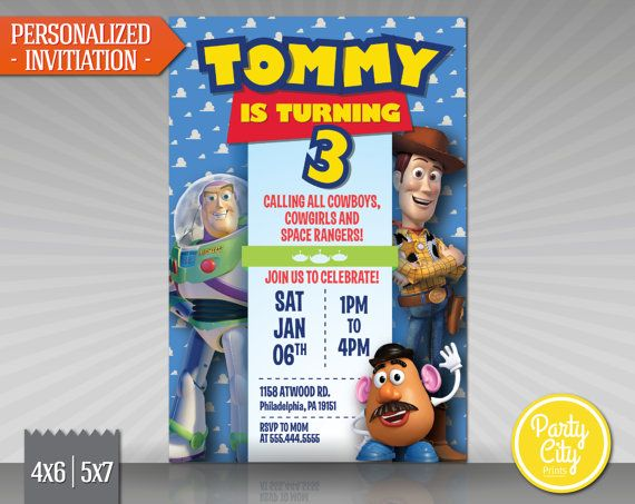 Toy Story Invitation - Make your little ones birthday special with this custom Disney Pixar Toy Story invitation featuring Woody, Buzz Lightyear