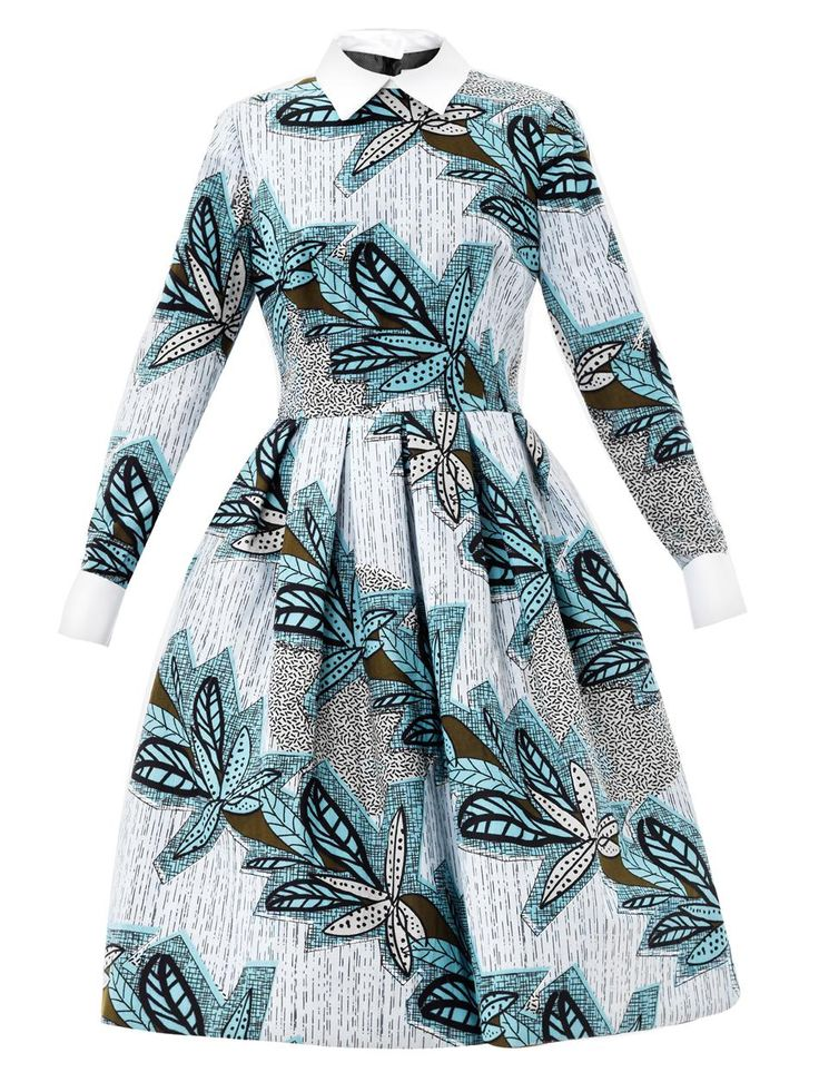 Mandisa contrasting-collar print dress | Stella Jean