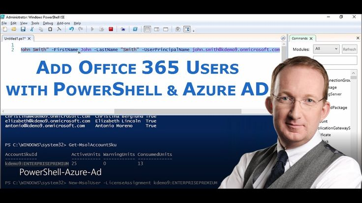 *Add Users to Office 365 with PowerShell and Azure Ad* Get started with a PowerShell script that adds users to Office 365.  More info at http://www.kalmstrom.com/Tips/Office-365-Course/Add-Users-PowerShell-Azure-Ad.htm