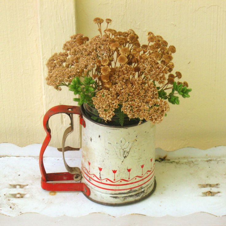 Chippy Flour Sifter Vintage Red and White Flowers Cottage Shabby Decor - pinned by pin4etsy.com
