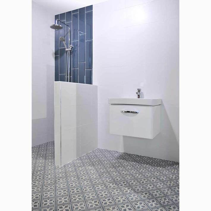 33x33cm Mr Jones Patterned Blue Floor Tile Gs D4862