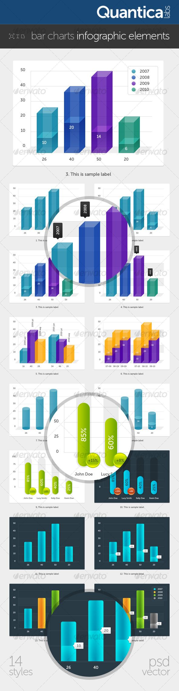 Bar Charts Infographic Elements - Infographics  #infographic #graphic #design #graphicdesign #web #icons #buttons #graph #stats #chart #statistic #pie #barchart #bar