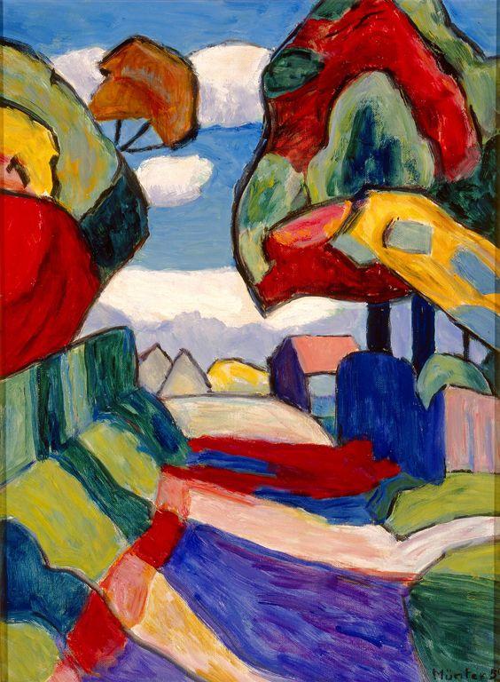 Gabriele Münter (German, 1877–1962)  Road in Multicolored October, 1959  Oil on canvas  20 x 14 1/2 in. (50.8 x 36.83 cm)  Gift of Mrs. Harry Lynde Bradley M1975.154   ©2010 Artists Rights Society (ARS), New York / VG Bild-Kunst, Bonn