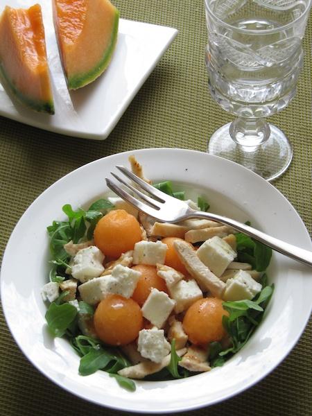 Insalata di pollo, feta e melone. #food #pollo #estate