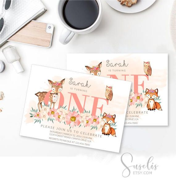 Digital Woodland Birthday Invitation card Custom Deer Fox Owl