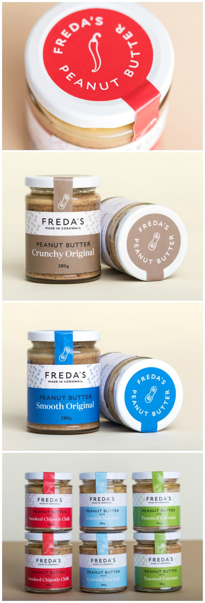 "Friends - Freda's Peanut Butter #packaging #design ""Freda's approached Friends to brand and package their delicious new artisan product."" World Packaging Design Society"