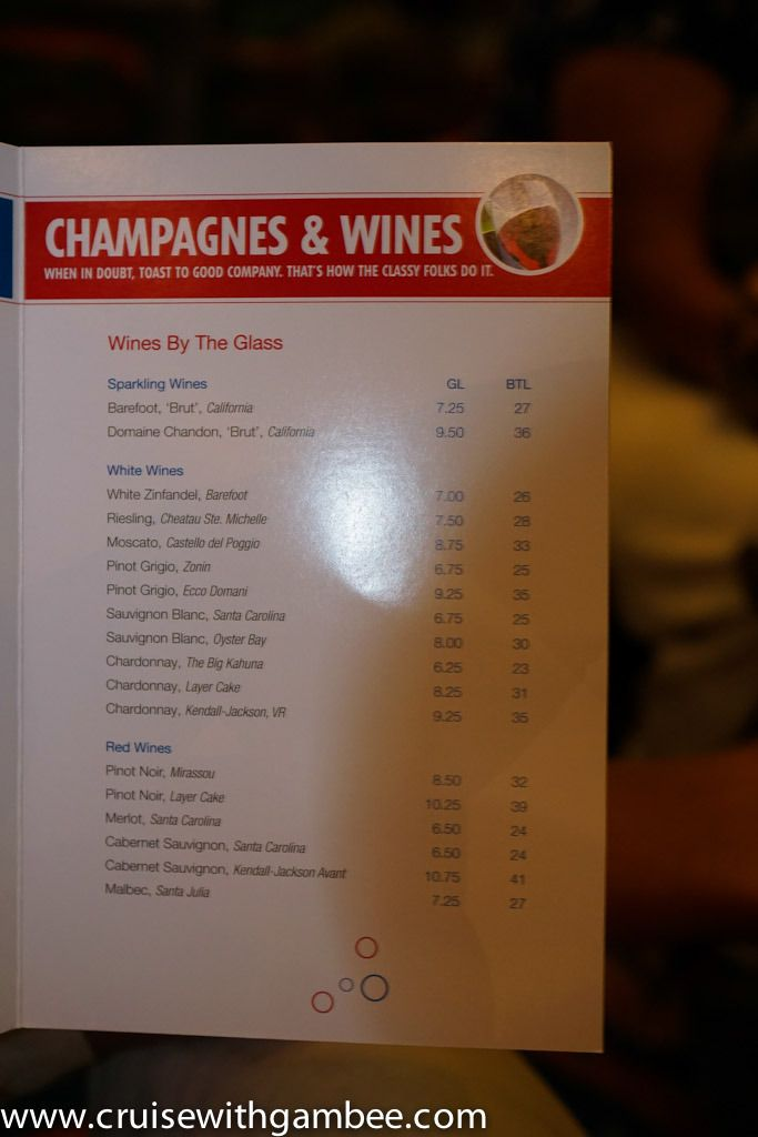 Carnival Cruise Line Drink Prices - cruise with gambee ...