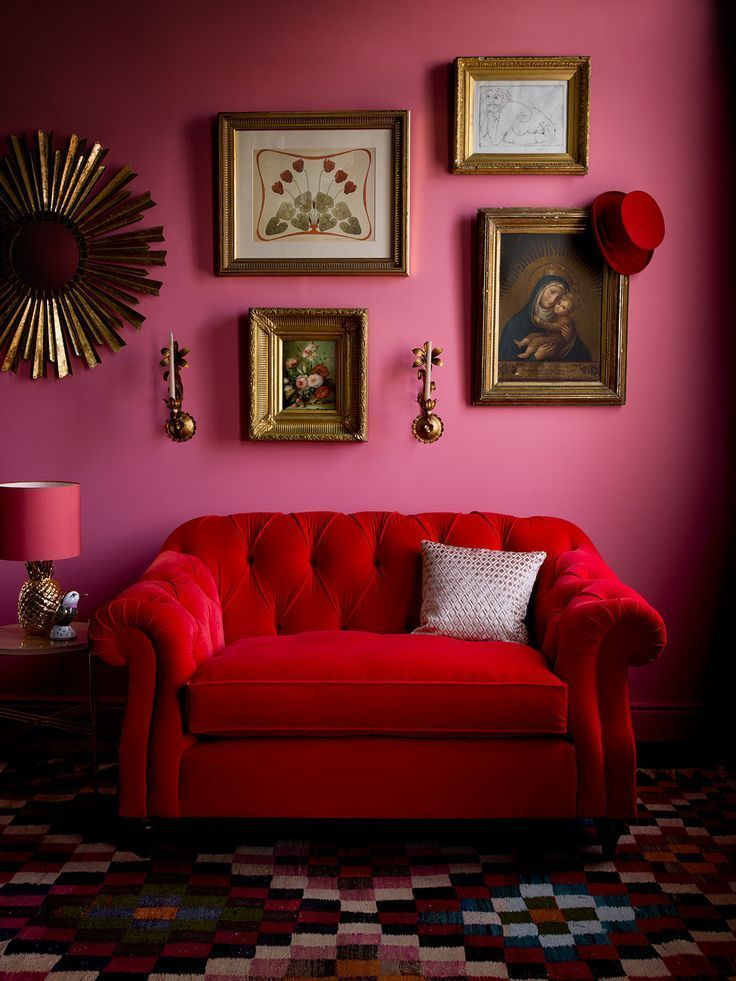 red + pink - art on walls - colour  - lounge