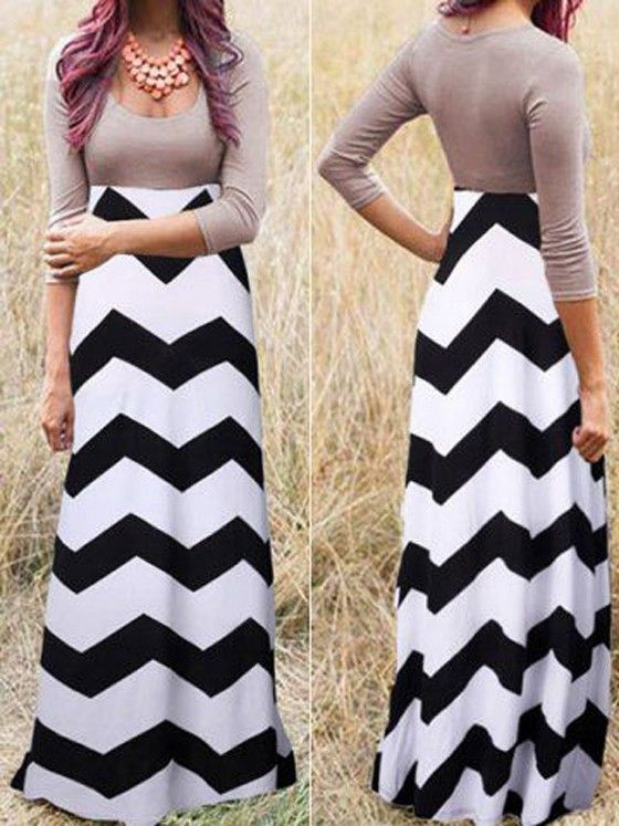 Black-White Wave Striped Pleated Scoop Neck 3/4 Sleeve Floor Length Dress