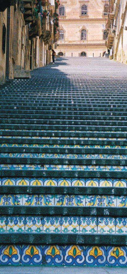 Italy Sicily Caltagirone stairs - #junkydotcom travel.   Every city should decorate their public shaircases--beautiful!