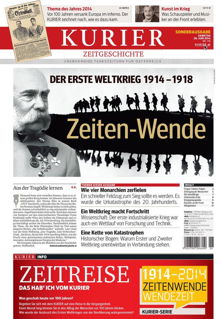 Online-Sonderausgabe zum Ersten Weltkrieg. http://kurier.at/thema/1914/die-kurier-serie-zum-ersten-weltkrieg-zeitenwende-wendezeit/72.201.305 (auch als Download)