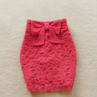 Rose Lace Skirt With Bowtie #rose-lace-skirt-with-bowtie