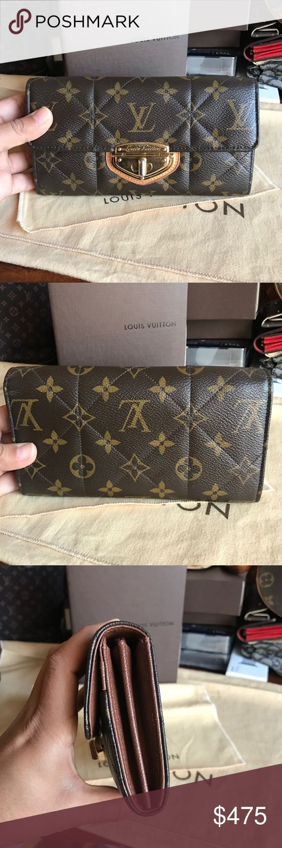 ❤️LAST PRICE❤️Louis Vuitton Etoile Sarah Wallet. Authentic Louis Vuitton Sarah wallet in awesome condition. It shows very little wear, inside is clean. Canvas is in beautiful condition as well. Front closure has scratches and color is a little faded. One of the screws on closure came off. It does not affect the wallets functionality at all. Plenty of space to keep 10 credit cards, IDs, zipped coin compartment and plenty of room for receipts, bills. I will include a box and dustbag. ❌NO…