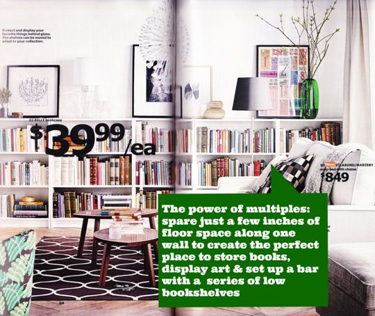 IKEA 2015 Catalog Sneak Peek: Stylists' Ideas Worth Stealing (NOTE: short Billy bookcases, sofa bed with chaise on right)