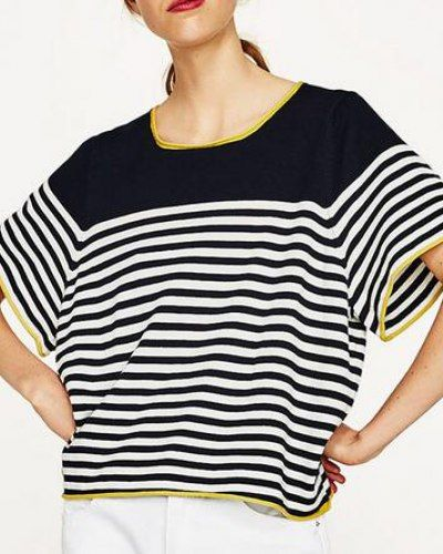 Color block striped t shirt loose knitted style for women