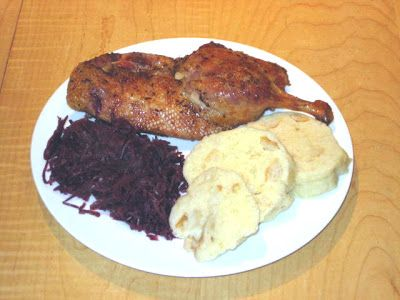 The Food: Roasted Duck with Red Cabbage & Dumplings.