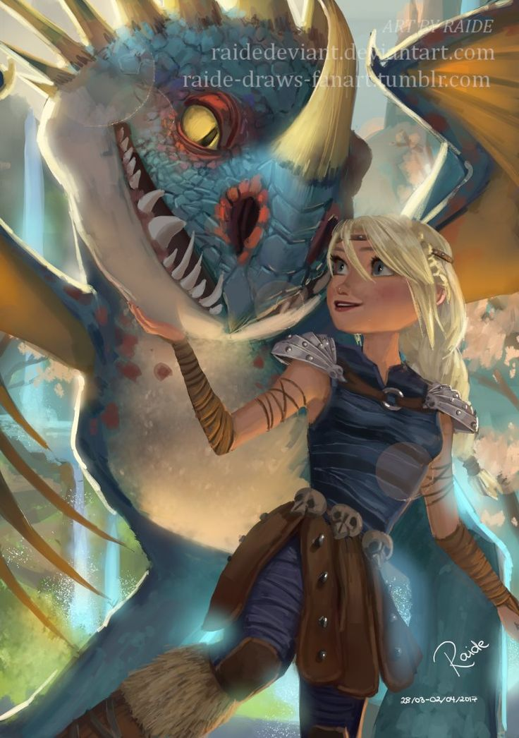 """raide-draws-fanart:  """"Astrid and Stormfly in HTTYD 2 and RTTE :) I really like how the colours turned out, so I hope you like this too! ^^  In case you're interested, here is the WIP!  """""""