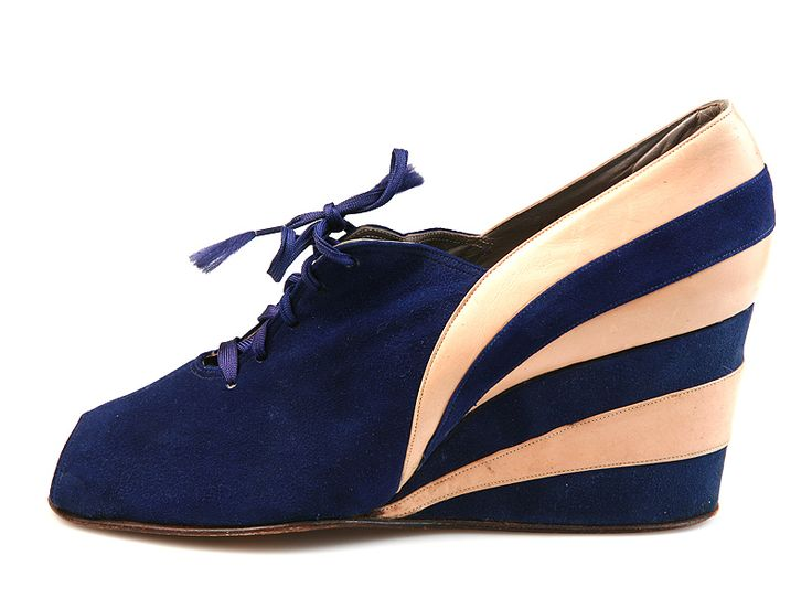 Blue suede open toe three layer wedges, c. 1946-48.