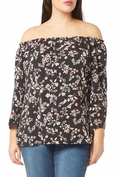 Evans Floral Bardot Top (Plus Size)