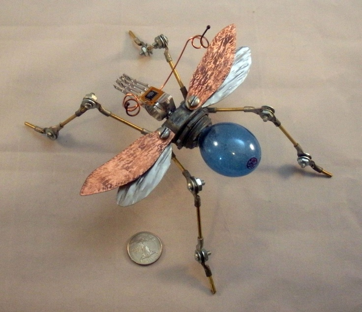 GE BLUE BUG Ucycled art Assemblage Sculpture Mixed media Dinosaurs. $195.00, via Etsy.