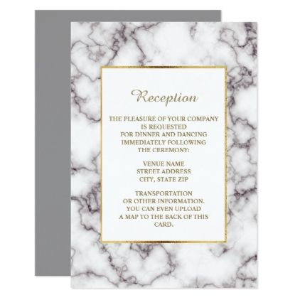 Elegant Trendy White Marble Wedding Reception Card  $2.23  by thepartyshop  - cyo customize personalize unique diy
