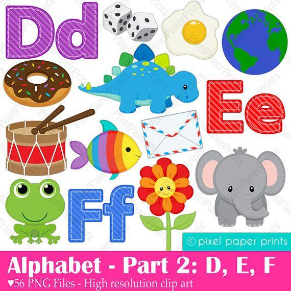 Alphabet Clipart  Part 2 - ABC clip art - DEF - School clip art