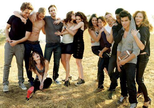 The cast of Twilight: Robert Pattinson (Edward), Elizabeth Reaser (Esme), Kellan Lutz (Emmett), Peter Facinelli (Dr. Cullen), Nikki Reed (Rosalie), Kristen Stewart (Bella), Ashley Greene (Alice), Jackson Rathbone (Jasper), Cam Gigandet (James), Edi Gathegi (Laurent), Taylor Lautner (Jacob), Rachelle Lefevre (Victoria).