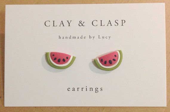 Watermelon Earrings - beautiful handmade polymer clay jewellery by Clay & Clasp