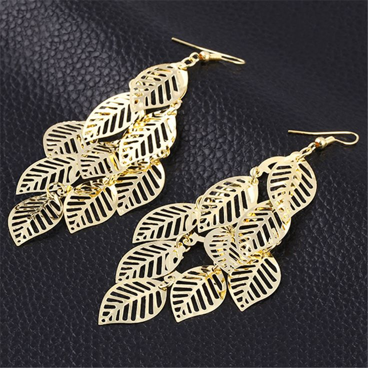Fashion Jewelry Metal Alloy Silver and Gold Plated Hollow Leaf Earrings For Women Jewelry & Accessories Drop Shipping