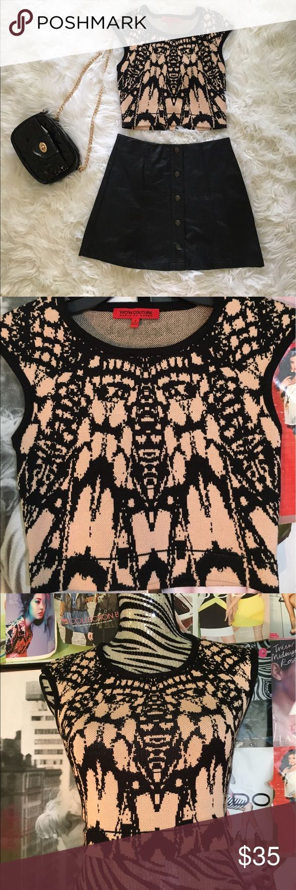 WOW Couture - Black and Cream Crop Top WOW Couture Black and Cream Crop Top - Small - Never Worn - 90% Rayon WOW couture Tops Crop Tops