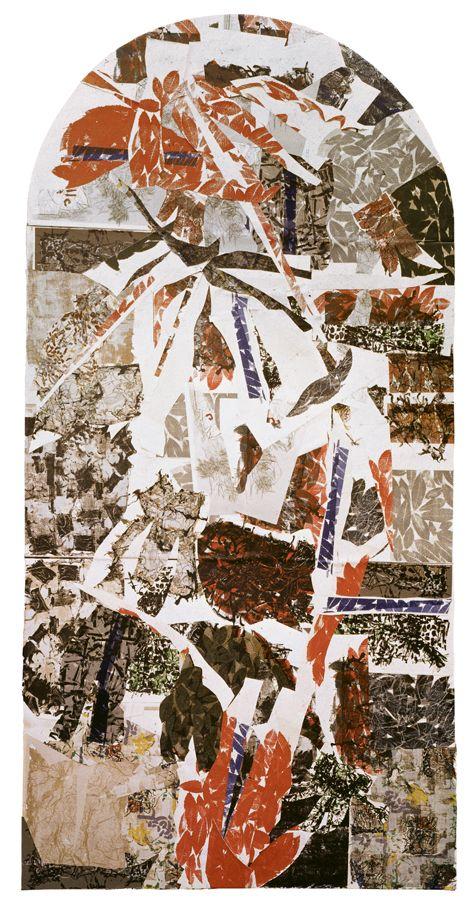 Jean-Paul Riopelle, Sans titre, 1967, collage et assemblage d'éléments lithographiés sur toile, 491 x 263 cm en 3 panneaux