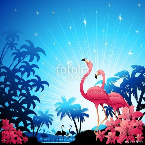 Vector: Pink Flamingos on Blue Tropics-Fenicotteri Rosa