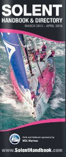 Cover of the Solent Handbook & Directory, showing the Volvo team SCA
