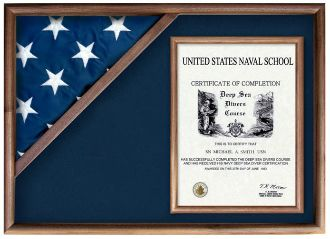 This Corner Flag Case is available in either a solid oak display case or walnut flag display case. These flag display cases are designed to beautifully display both a folded flag and other memorabilia in one convenient place.