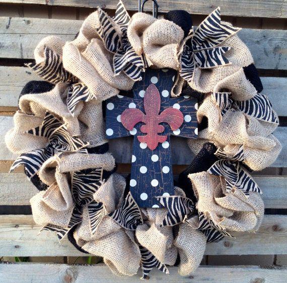 Burlap Wreath, Fleur De Lis Wreath, Door Hanger, Zebra Wreath, Housewarming Gift, Rustic Home Decor, Cross Wreath, Personalized Wreath on Etsy, $65.00