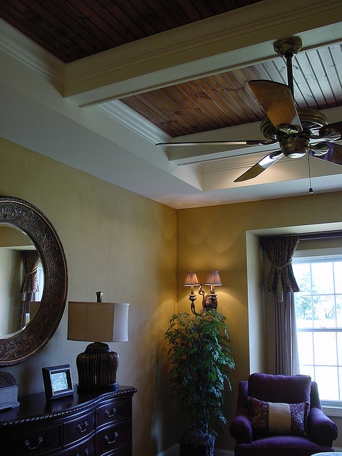 Faux Leather Walls And Custom Tray Ceiling Ceiling Ideas