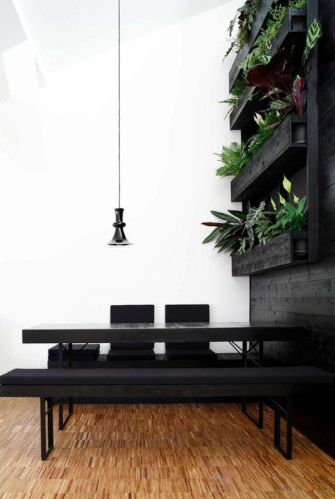 black furniture, plant wall - [for more home and decor inspirations, follow board]