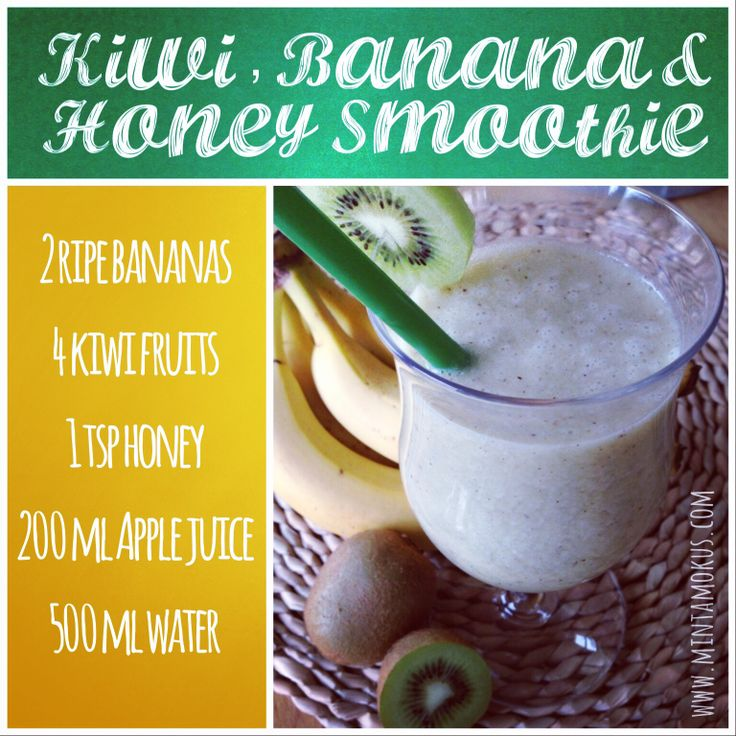 Fresh kiwi and banana smoothie with a little bit of honey. Just so nice instead of those sugary drinks. Have a litre or two per day.